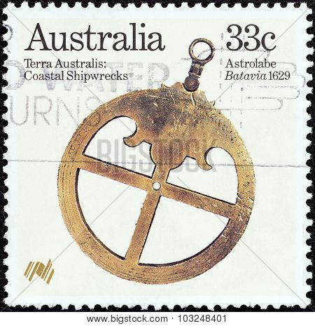 AUSTRALIA - CIRCA 1985: A stamp printed in Australia shows Astrolabe (Batavia 1629)