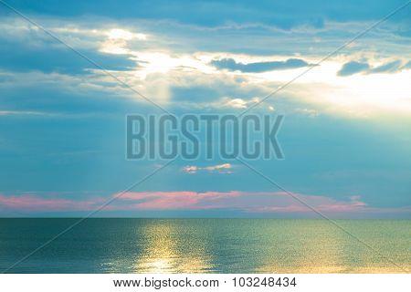 Sea Horizon At Sunrise In The Morning
