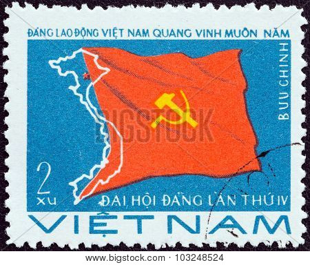 VIETNAM - CIRCA 1976: A stamp printed in North Vietnam shows Party Flag and Map