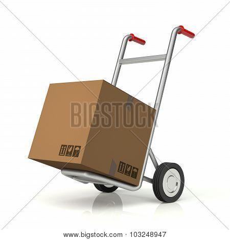 Hand Truck And Cardboard Box