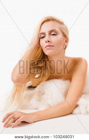Pretty Blonde Women In A Fur Cape