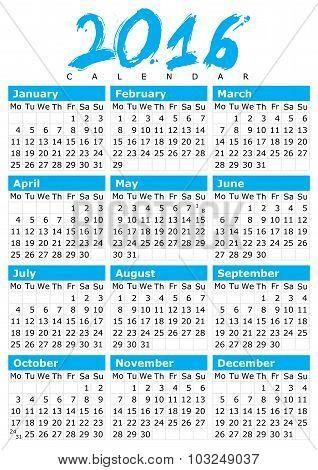 Simple Calendar For 2016