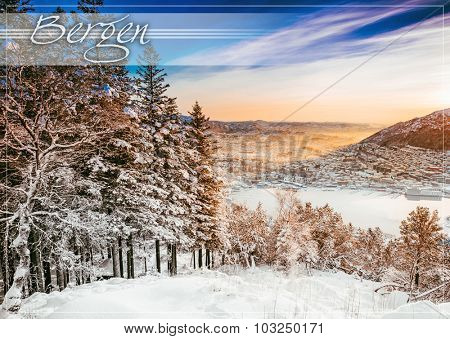 postcard with beautiful winter landscape from a mountain top
