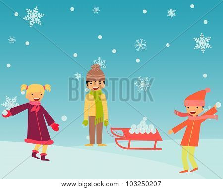 Kids playing snowballs on a background of snowflakes. Vector illustration