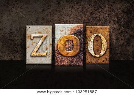 Zoo Letterpress Concept On Dark Background
