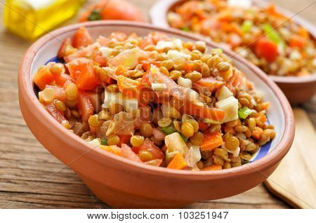 closeup of a earthenware bowl with a lentil salad on a rustic wooden table