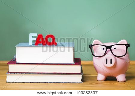 Faq Theme With Pink Piggy Bank With Chalkboard