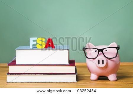 Federal Student Aid Theme With Pink Piggy Bank With Chalkboard