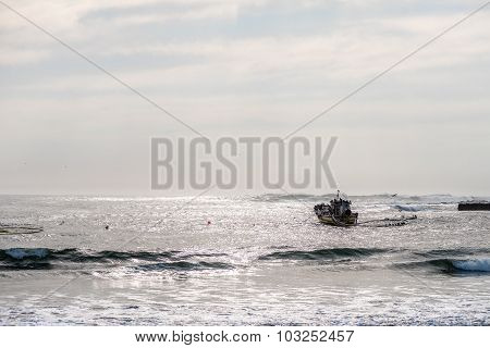 Diamond Boat Anchored At The Harbor In Hondeklipbaai