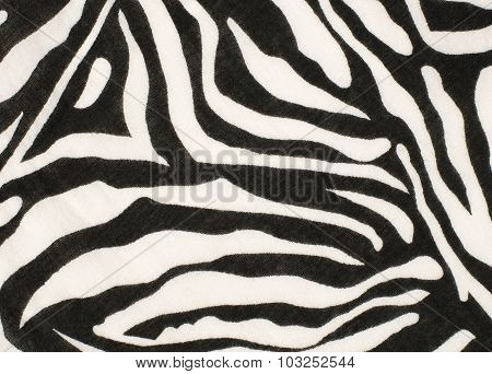 Black And White Zebra Pattern On Fabric.