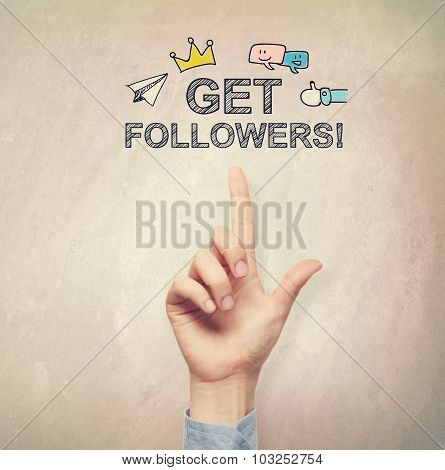 Hand Pointing To Get Followers Concept