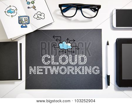 Cloud Networking Concept With Black And White Workstation