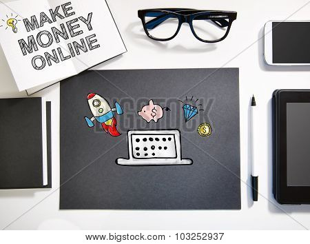 Make Money Online Concept With Black And White Workstation
