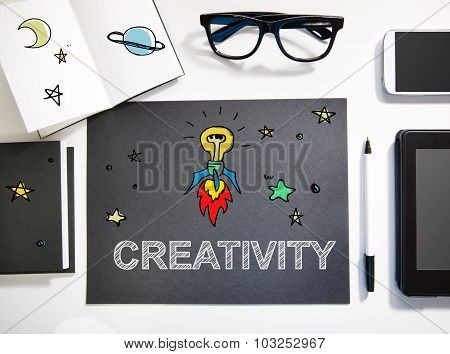 Creativity Concept With Black And White Workstation