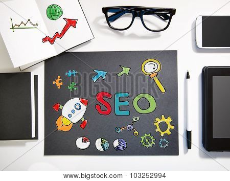 Seo Concept With Black And White Workstation