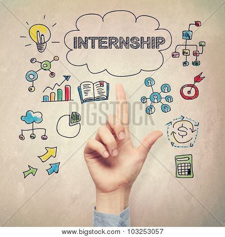 Hand Pointing To Internship Concept