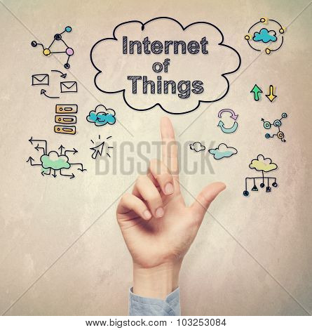 Hand Pointing To Internet Of Things Concept