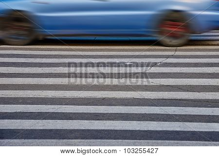 White Pedestrian Crossing On Asphalt In Krivoy Rog