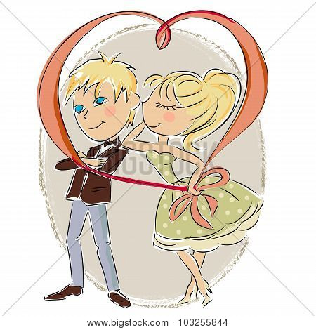 Valentines Day. Boy and girl. Love cards.