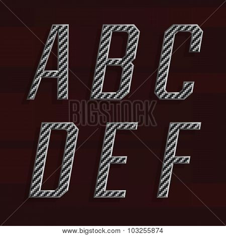 Carbon fiber Alphabet Vector Font. Part 1 of 6. Letters A - F.