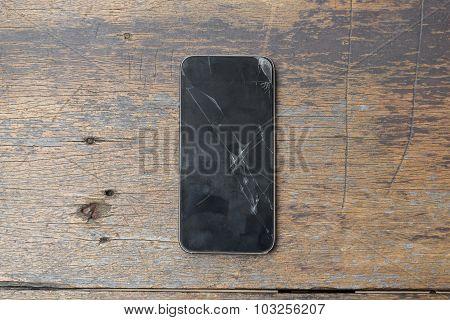 Top view of Broken glass of smart phone