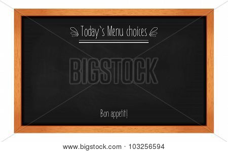 Horizontal Menu Chalkboard For Cafes And Restaurants With An Inscription. Realistic Wooden Frame. Ve