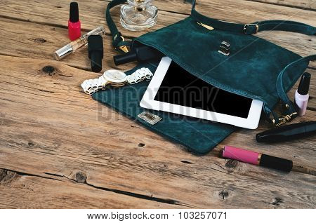 Suede Womens Bag With Tablet Computer, Watch And Women Cosmetics