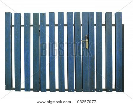 Old Blue Wooden Gate With Lock Isolated Over White