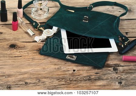 Suede Female Bag With Tablet Computer, Watch And Women Cosmetics
