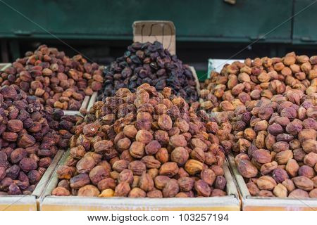 Dry Fruits And Spices Like Cashews, Raisins, Cloves, Anise, Etc. On Display For Sale In A Osh Bazaar