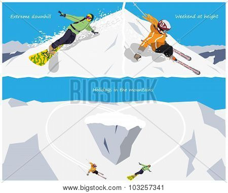 Extreme winter tourism skiing and snowboarding. Recreation & Sports in the mountains. Vector illustr