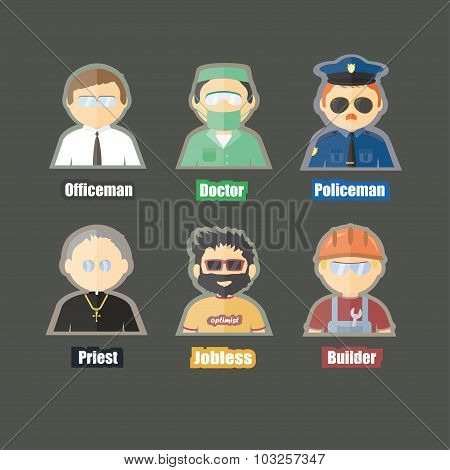 flat cartoon image of different proffesion character on isolated backgound