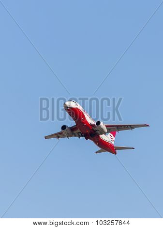 Russian Red-white Superjet 100-95B