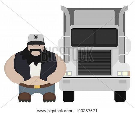Cartoon style truck driver standing. No outline
