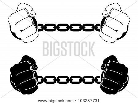 Man hands in strained steel handcuffs. Black and white