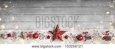 Christmas Ornament In Row On Vintage Wooden Plank