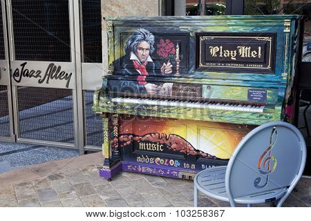 FORT COLLINS, CO, USA, JULY 17, 2012:  Beethoven piano, one of murals painted within Pianos About Town program, artist - Terry McNerney. Old town of Fort Collins, Colorado