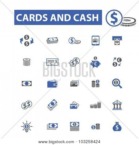 money, investment, cards, cash, banknotes icons