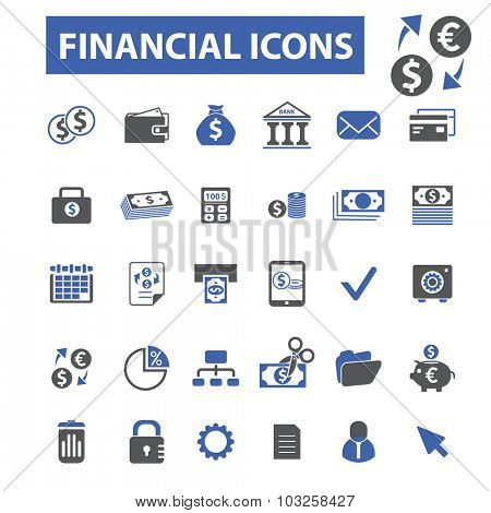 finance, bank, investment icons