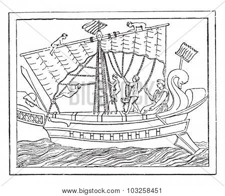 Maneuver the sail in a transport vessel, vintage engraved illustration.