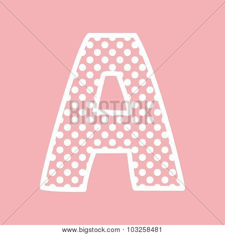 A vector alphabet letter with white polka dots on pink background