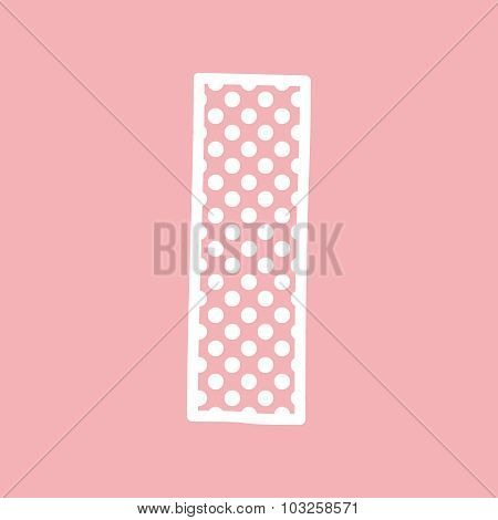 I vector alphabet letter with white polka dots on pink background