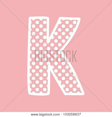 K vector alphabet letter with white polka dots on pink background