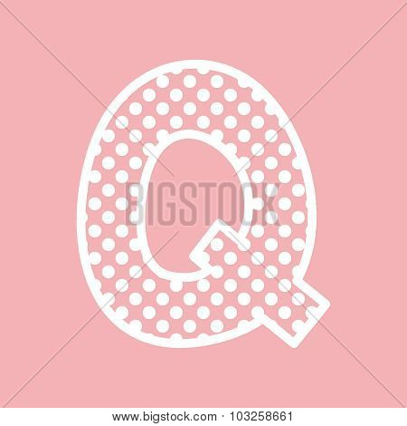 Q vector alphabet letter with white polka dots on pink background