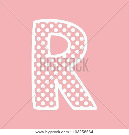 R vector alphabet letter with white polka dots on pink background