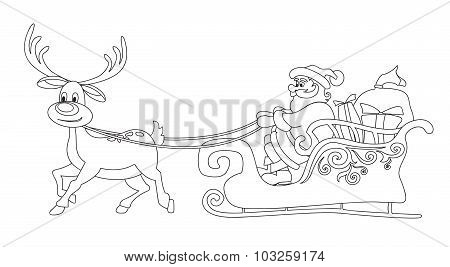 Line Santa Claus And The Deer.