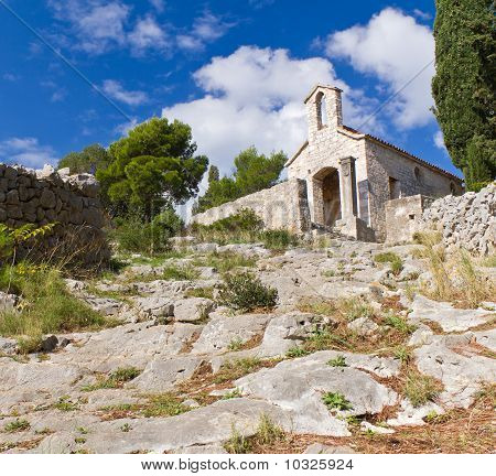 Stone Church By Fortress In Hvar, Croatia