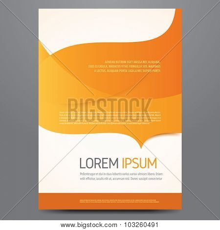 Flyer, brochure, poster, annual report, magazine cover vector template. Modern orange corporate design.