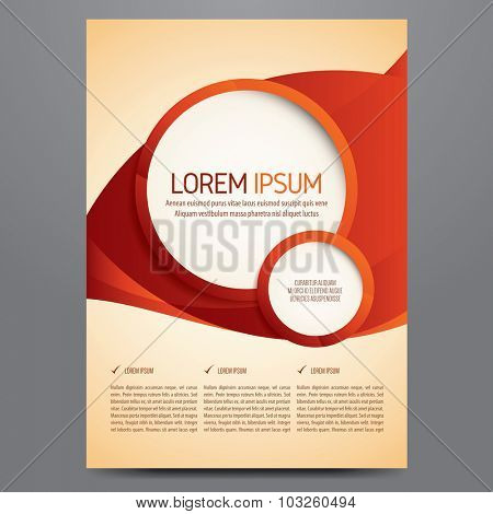 Flyer, brochure, poster, annual report, magazine cover vector template. Modern red and orange corporate design.