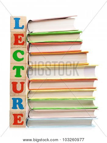 Lecture word formed by wood alphabet blocks on white background